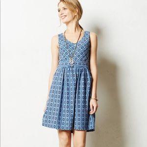 Maeve Lazuli Blue White Dress Anthropologie 10